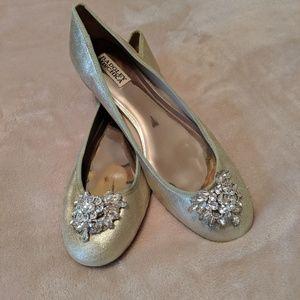 Badgley Mischka Gold Formal Flats Size 9.5